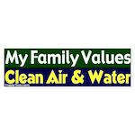 Clean Air and Water Bumper Sticker