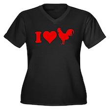 I Love Cock Women's Plus Size V-Neck Dark T-Shirt