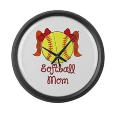 Softball mom red head Large Wall Clock