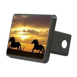 Sunset with horses Hitch Cover