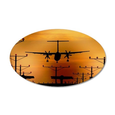 Airplane landing 35x21 Oval Wall Decal