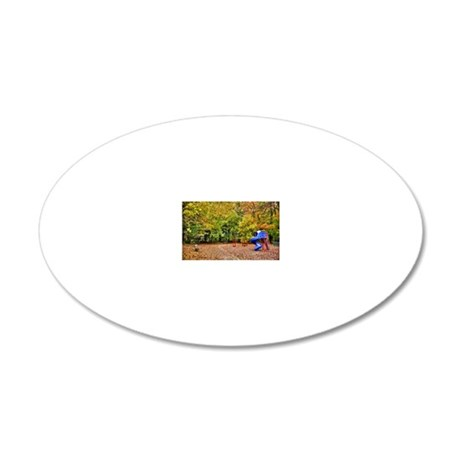 Leaves falling in park 20x12 Oval Wall Decal