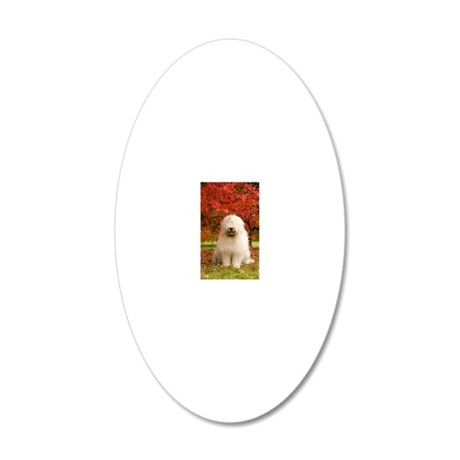 English Sheepdog acer tree 20x12 Oval Wall Decal