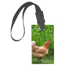 Free range chicken in meadow Luggage Tag