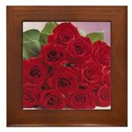 Red Rose Bouquet Framed Tile