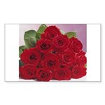 Red Rose Bouquet Rectangle Sticker