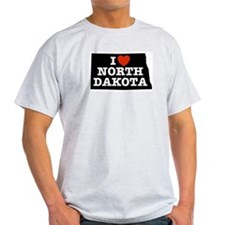 I Love North Dakota Ash Grey T-Shirt