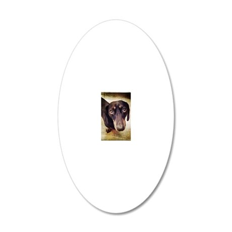 Dog looking at camera with b 20x12 Oval Wall Decal