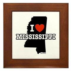 I Love Mississippi Framed Tile