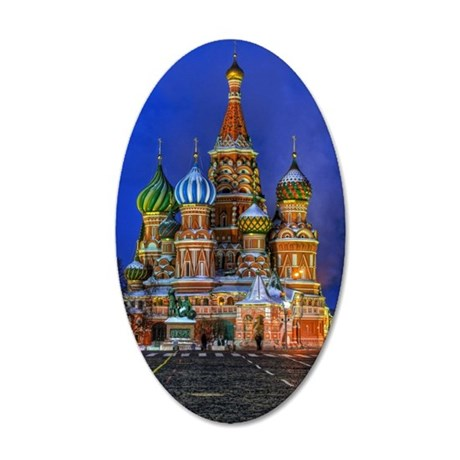 St Basil's cathedral at nigh 35x21 Oval Wall Decal