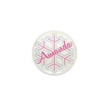 Snowflake Amanda Personalized Mini Button (100 pac