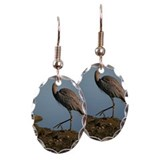Great blue heron on beach Earring Oval Charm