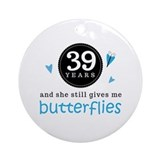 39 Year Anniversary Butterfly Ornament (Round)