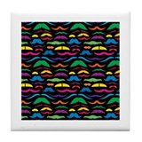 Mustache Color Pattern Black Tile Coaster
