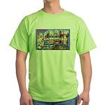 Bangor Maine Greetings (Front) Green T-Shirt