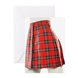 A red plaid school girl skirt on a m Greeting Card