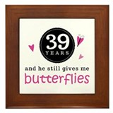 39th Anniversary Butterflies Framed Tile