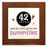 42nd Anniversary Butterflies Framed Tile