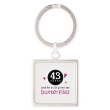 43rd Anniversary Butterflies Square Keychain