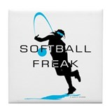 Softball Freak Pink Tile Coaster