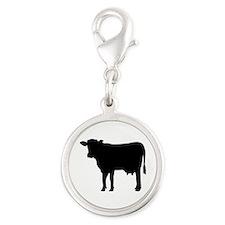 Black cow Silver Round Charm