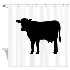 Black cow Shower Curtain