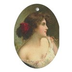 Victorian Woman Romantic Art Oval Ornament