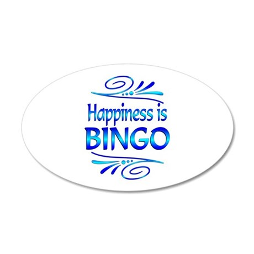 Happiness is Bingo 35x21 Oval Wall Decal