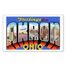 Akron Ohio Greetings Rectangle Decal