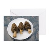 Three wild morel mushrooms on a plat Greeting Card