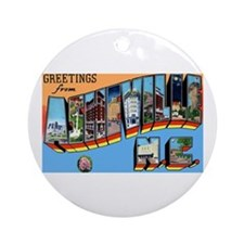 Asheville North Carolina Greetings Ornament (Round