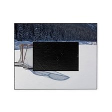 hockey net on outdoor ice rink Picture Frame