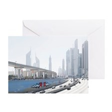 Sheikh Zayed road on national day Greeting Card