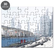 Sheikh Zayed road on national day Puzzle
