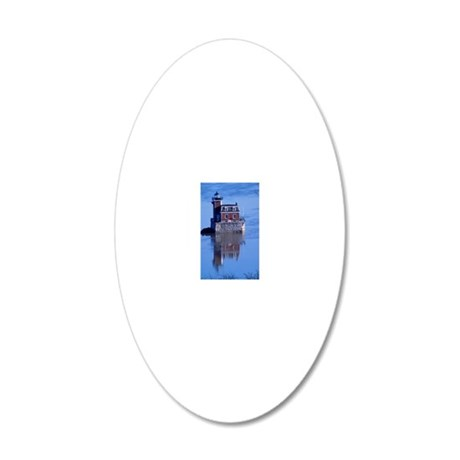 Hudson River Lighthouse 20x12 Oval Wall Decal