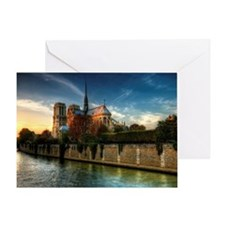 Notre-Dame Cathedral, Seine, Paris,  Greeting Card