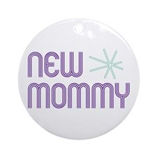Purple New Mommy Ornament (Round)