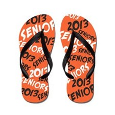 Orange Black White Senior Class OF 2013 Flip Flops