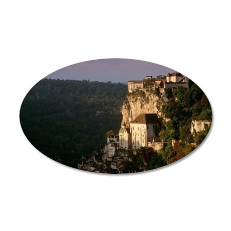 Rocamadour village and churc 35x21 Oval Wall Decal