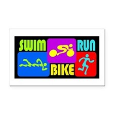 TRI Swim Bike Run Figures Rectangle Car Magnet