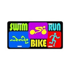 TRI Swim Bike Run Figures Aluminum License Plate