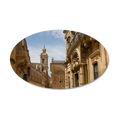 Facades and church, Mdina, M 35x21 Oval Wall Decal