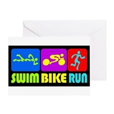 TRI Swim Bike Run Figures Greeting Card