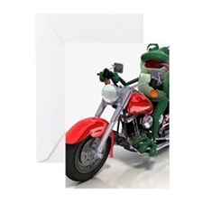 Frog riding motorcycle Greeting Cards (Pk of 10)