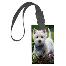 Westie puppy in garden Luggage Tag