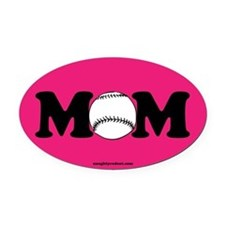 Baseball Mom Oval Car Magnet