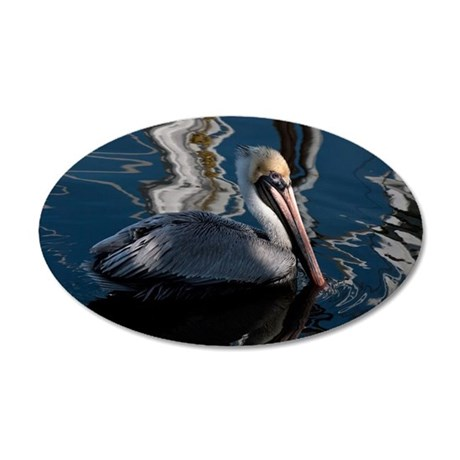 Brown pelican 35x21 Oval Wall Decal