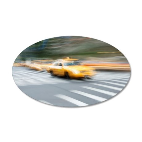 Blurred image of traffic in  35x21 Oval Wall Decal
