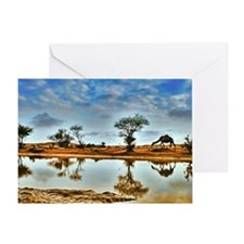 Camel at desert with reflection. Greeting Card