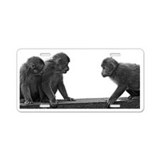 Monkeys getting ready for f Aluminum License Plate